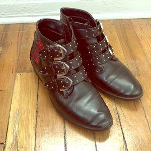 Rose Detailed Black Moto Boots size 38 🎩